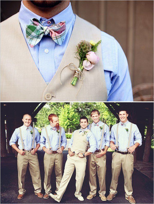 Tan wedding suits.  Perfect for a spring/summer wedding