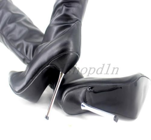 Sexy Womens Over Knee Thigh Boots Nightclub High Heel Leather Show Shoes Size UK #Kinkythighhighboots