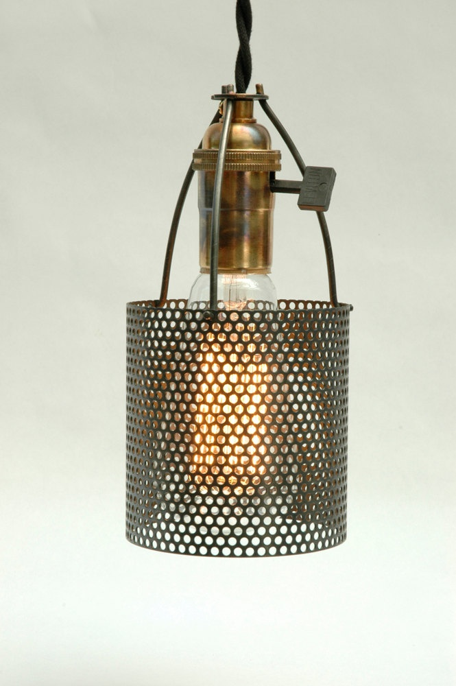 Industrial lamp shades Industrial Pendant Light Small Industrial Perforated Metal Lamp Shade By Lumalights 2500 Hope For 9158 Perforated Metal Metal Industrial Pinterest Small Industrial Perforated Metal Lamp Shade By Lumalights 2500