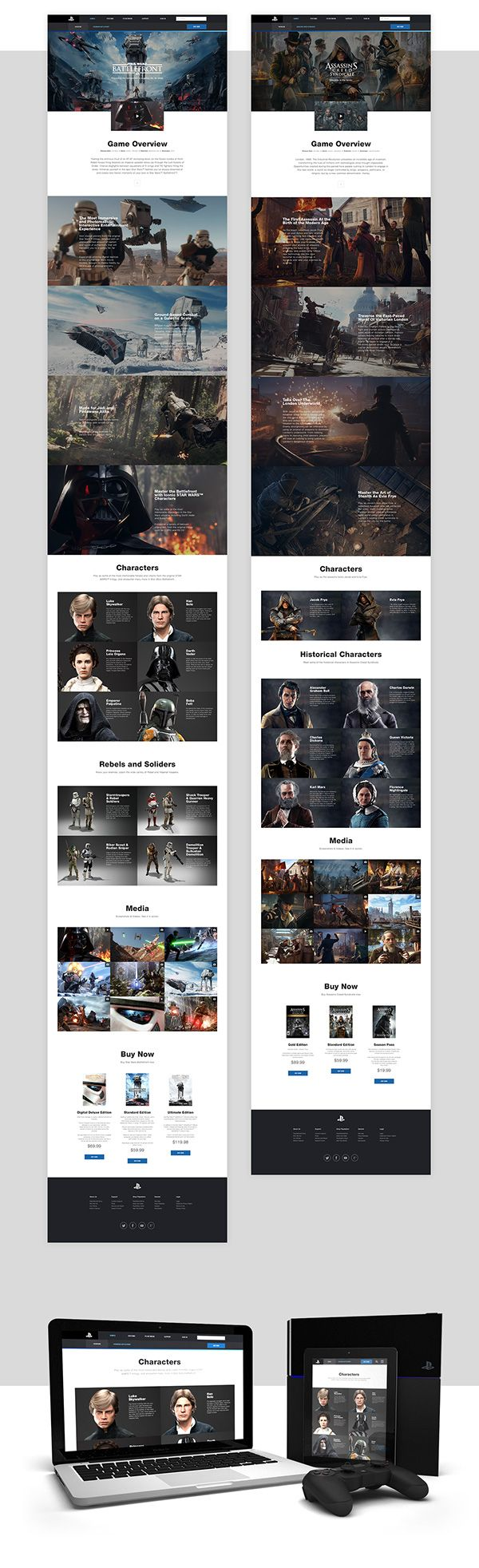 Playstation.com Redesign Concept on Web Design Served