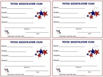 Voter Registration Cards for students can be used for your own mock election! Several versions of the student voter registration cards are included for IB-PYP campuses and non IB-PYP campuses.(One card has the IB attitudes as a border.)One page is set up to look like a postcard that can be printed on the back side of the registration card.