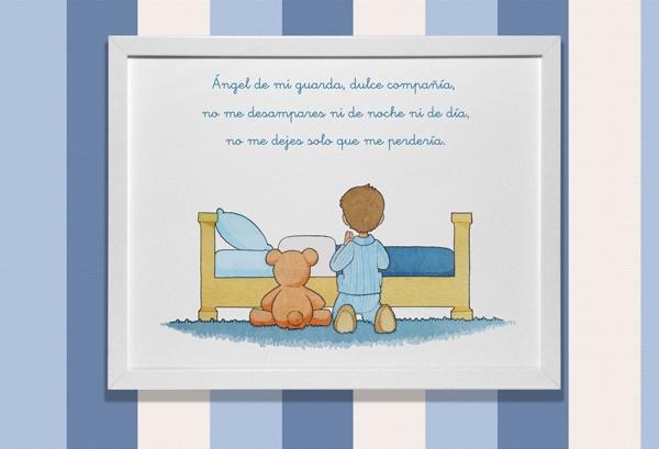 Cuadro infantil de www.pajaritoazul.com en el que aparece un niño rezando la oración del angel de la guarda
