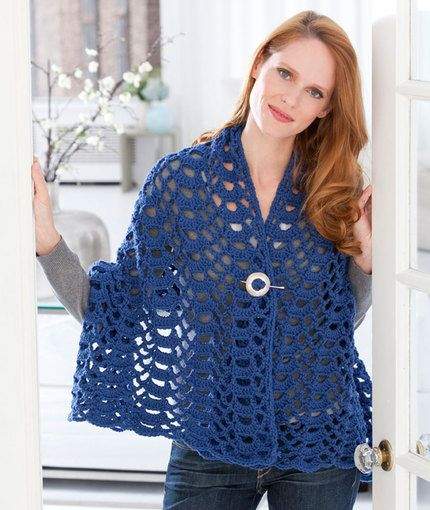 Fan Trellis Wrap Free Crochet Pattern in Red Heart Yarns