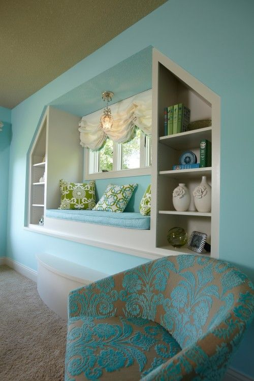 Aqua - Click image to find more Home Decor Pinterest pins: Aqua Rooms, Wall Colors, Bedrooms Window, Chairs, Tiffany Blue, Rooms Ideas, Reading Nooks, Window Seats, Built In Shelves