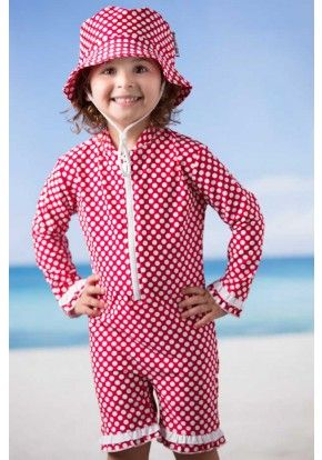 Babes in the Shade Red Spot Sunsuit
