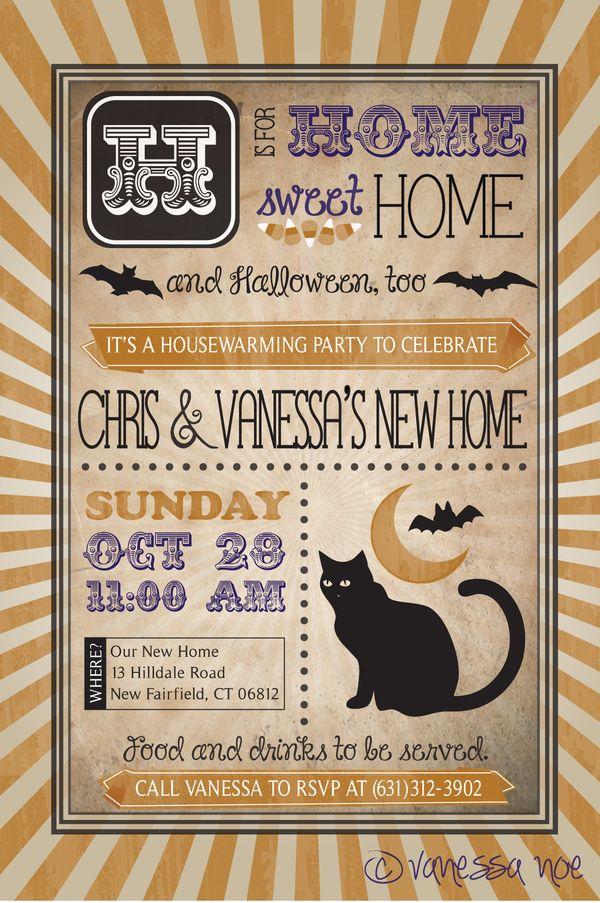 Housewarming and Halloween Invitation by Vanessa Noe, via Behance