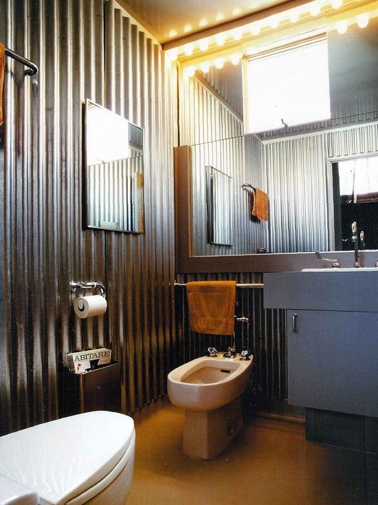 """Galvanized sheet metal / corrugated metal panels give any room an """"industrial"""" design -- even the bathroom."""