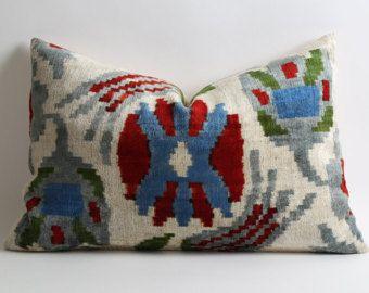 Pillows for couch 16x24 ikat velvet pillow cover sofa throw pillow red blue green cream designer cushion uzbek pillow hand dyed handwoven