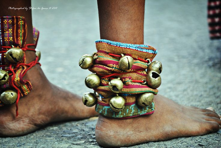 Foot of Sikka young dancer with ankle bracelet