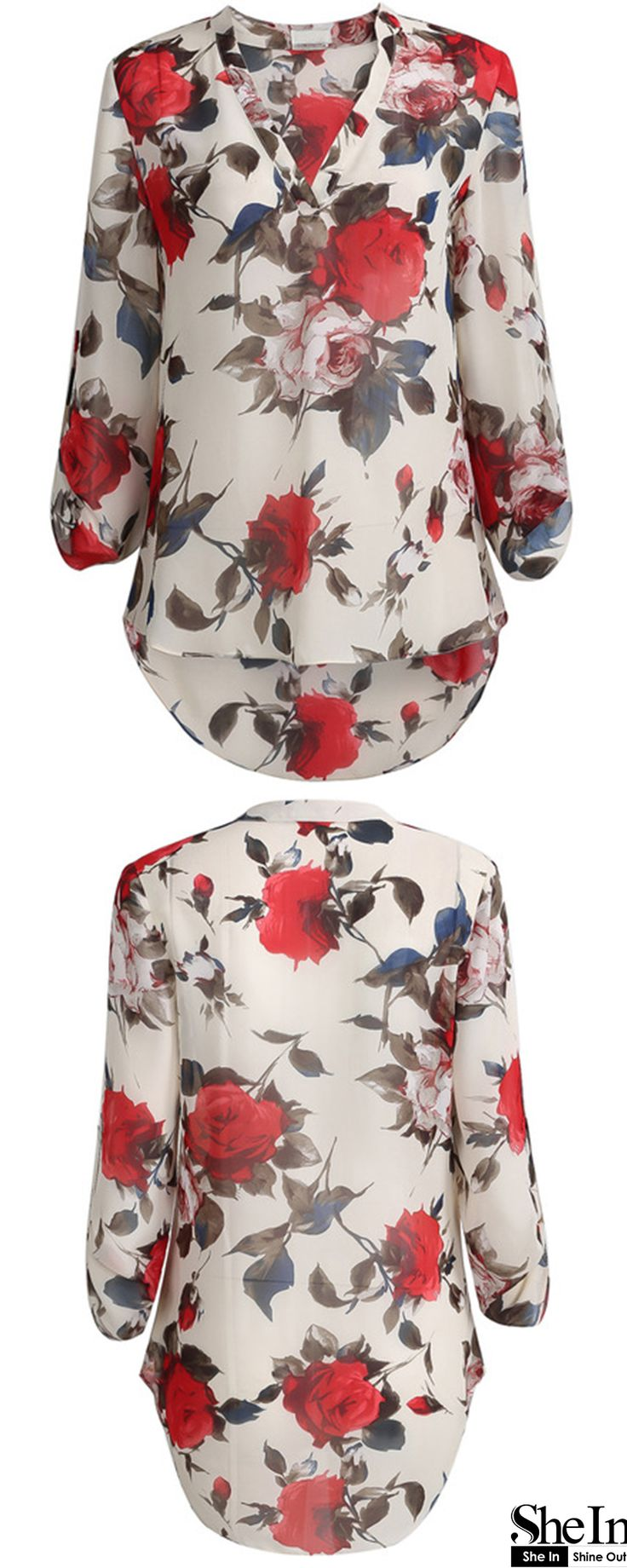 Apricot Long Sleeve Floral Print BlouseApricot Long Sleeve Floral Print Blouse ONLY US$15.39 SHEIN