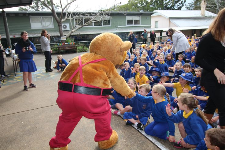 Mr Hooker Bear recently visited our local primary school to donate prizes for fundraising. And didn't he have FUN!!