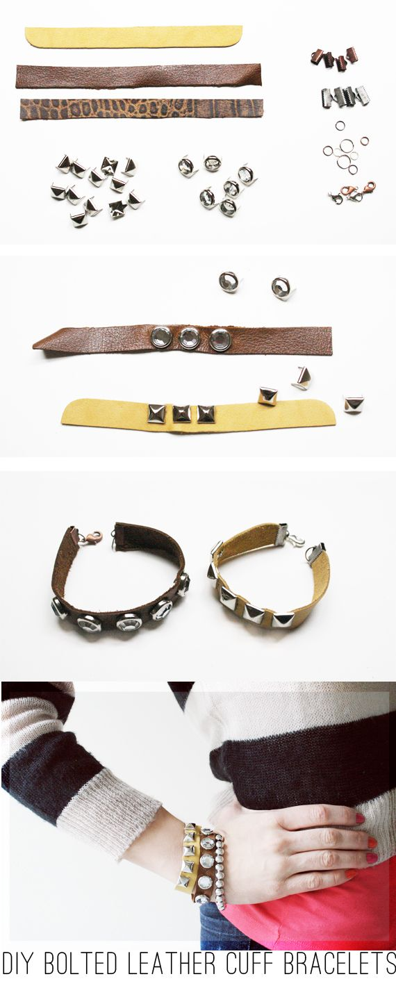 Arm Swag DIY: Bolted Leather Cuff Bracelets