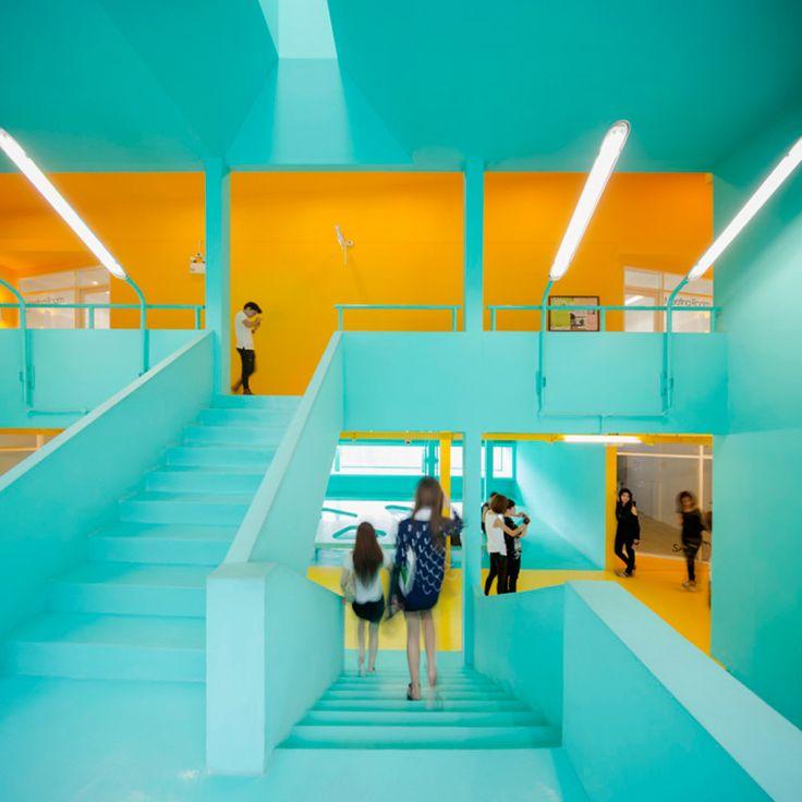 turquoise+orange. bangkok university student activity center by supermachine studio