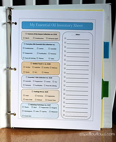 Free printables for an essential oils notebook.