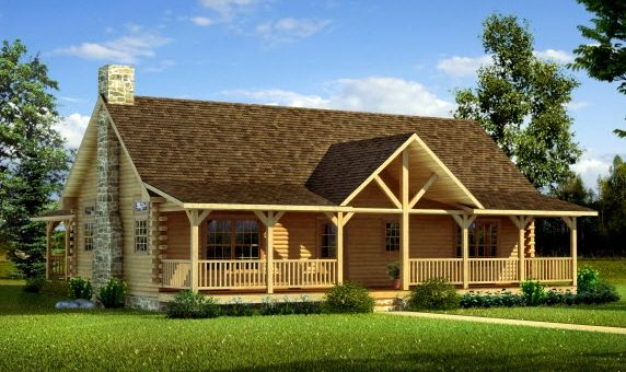 Gable front porches designs uinta log home builders for One story log house plans