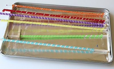 Curly Ribbons:                                          Preheat your oven to 275 degrees (F).  Lay ribbon wrapped dowels on a foil lined baking sheet.  Bake ribbon for 25 minutes.  Remove from oven and cool completely.