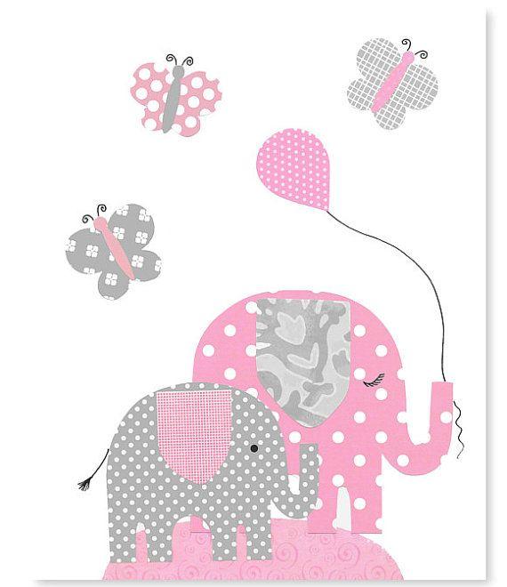 Pink and gray elephant wall art www.etsy.com/shop/SweetPeaNurseryArt
