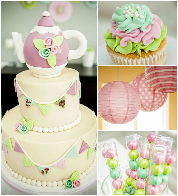 Second Birthday Tea Party via Kara's Party Ideas! Printables, cakes, decor, recipes, and more! KarasPartyIdeas.com #pastelteaparty #teaparty...