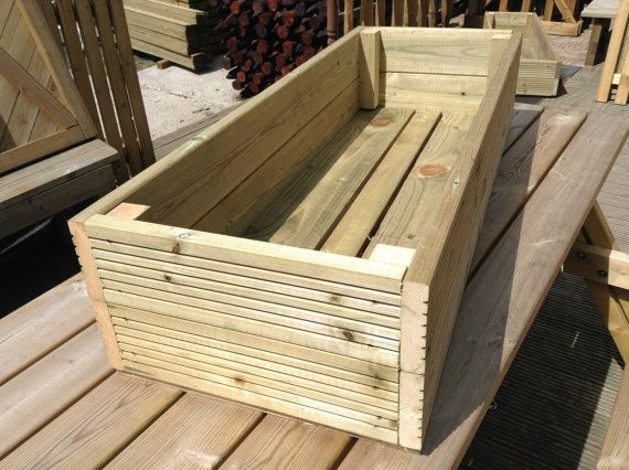 NEW - Handmade Large Decking Planters Available in Lengths of 0.6m (2ft), 1.2m (4ft) and 1.8m (6ft) New Planters handmade at our timber yard based in the heart of Devon, made from treated decking boards. Each planter has holes in the base for drainage. They are all 400mm wide and 240mm in height. These planters are really high quality and will last for years