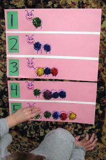 """Counting & number recognition ("""",)- cute preschool spring project. Tradução: Contando e reconhecimento número ("""",) - bonito projeto primavera pré-escolar."""