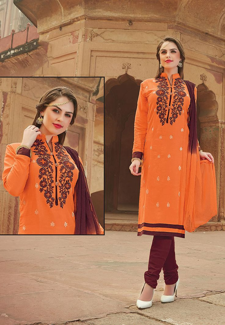 """""""We're staying together,"""" he promised. """"You're not getting away from me. Never again."""" Orange #Color Glazz Cotton Designer #Salwar Kameez"""