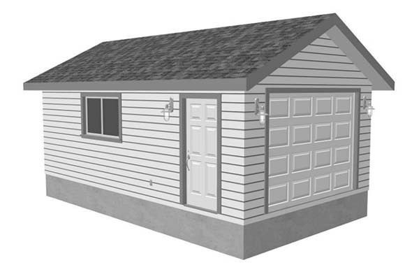 Truck Sized 1 Car Garage Plan 448 12 16 X 28 Garage Plans Garage Plan Car Garage