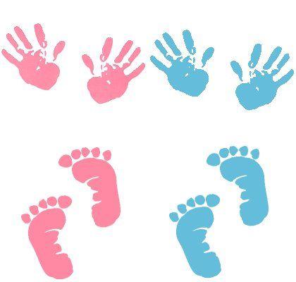 Alfabeto de manitas y piecitos de bebé.