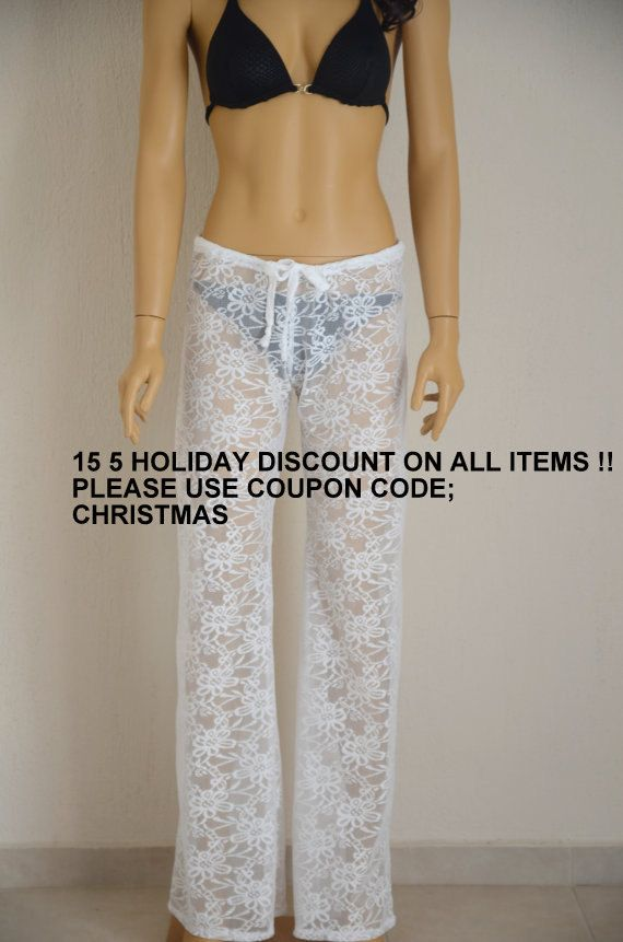 Crochet lace boho solid white beach pant -Yoga pant -Festival pant -Beach lounge pant -Bell Bottoms-CHOOSE YOUR COLOR !!! Plus size !!!