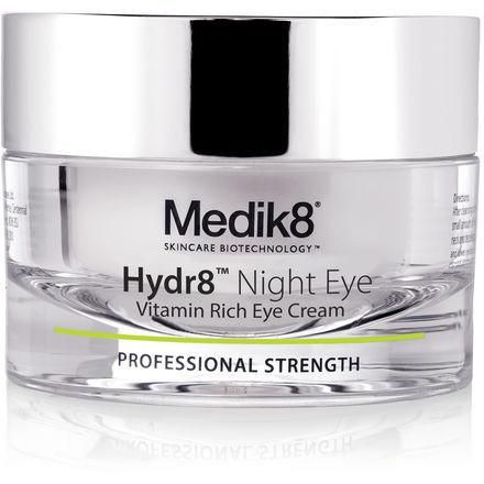 Medik8 Hydr8 Night Eye Vitamin-Rich Eye Cream 15ml Medik8 Hydr8 Night Eye is a luxurious eye cream designed especially for use at night. It has been blended with super active vitamin A (retinol), an ingredient known for its anti-ageing benefit Medik8 Hydr8 Night Eye helps to improve the appearance of fine lines and wrinkles, as well as providing intense hydration and protection to the delicate skin around the eye. The perfect partner to Hydr8TM Night Cream. What are the benefits?  Targets…
