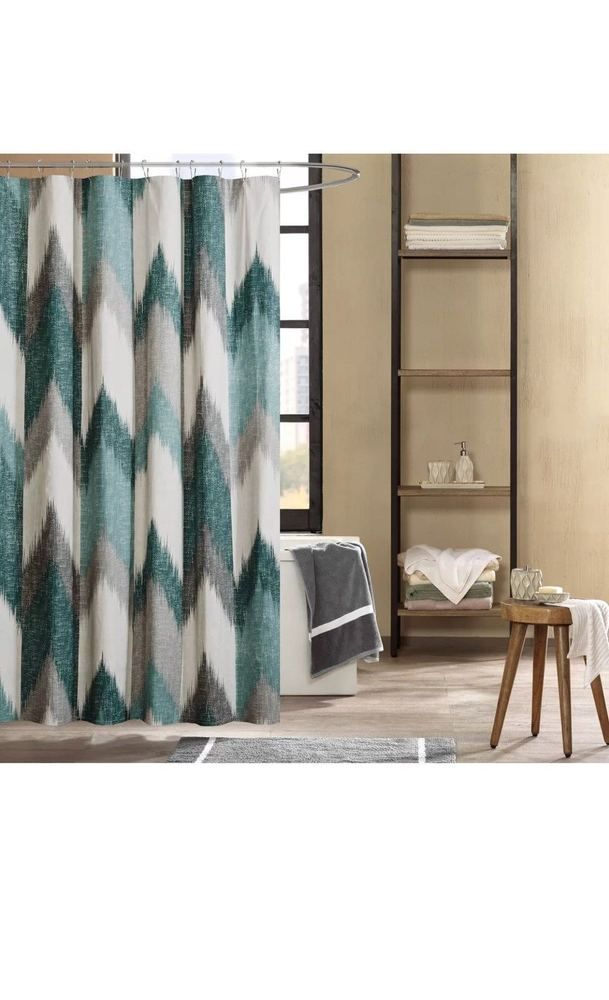 Ink Ivy Alpine Cotton Fabric Shower Curtain 72 X 72 Aqua 1170 779 New Inkivy Curtains Curtains Uk Home