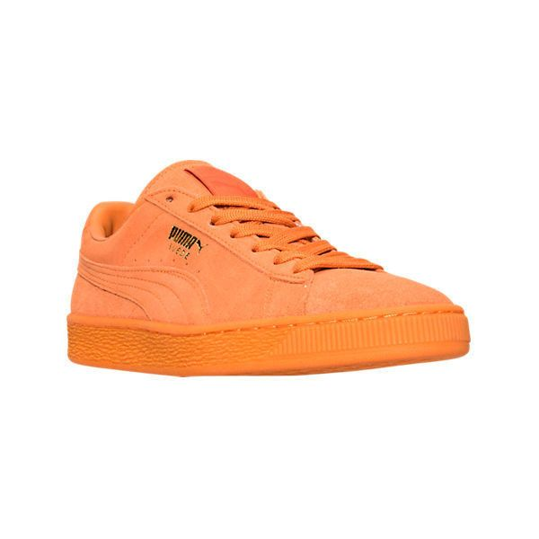 Puma Men's Suede Emboss Iced Classic Casual Shoes ($70) ❤ liked on Polyvore featuring men's fashion, men's shoes, men's sneakers, orange, mens shoes, mens orange sneakers, mens orange shoes, mens suede lace up shoes and puma mens sneakers