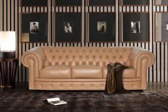 Трехместный кожаный диван Честерфилд (140 гр.)