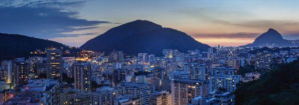 Photo Greeting Card. Botafogo and Humaita Neighbourhoods at twilight, elevated view, Rio de Janeiro, Brazil, South America. brazilian culture, neighbourhood, traditionally brazilian, typically brazilian, wide angle view, botafogo, humaita. Image supplied by WorldInPrint