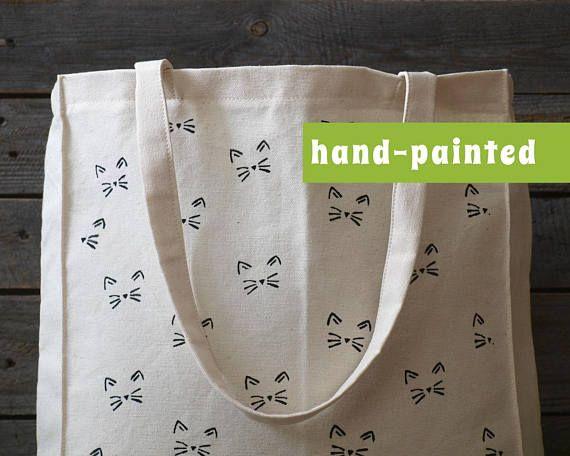 Cat lover gift/ cat purse/ Cat canvas bag/ cat tote bag/ cat