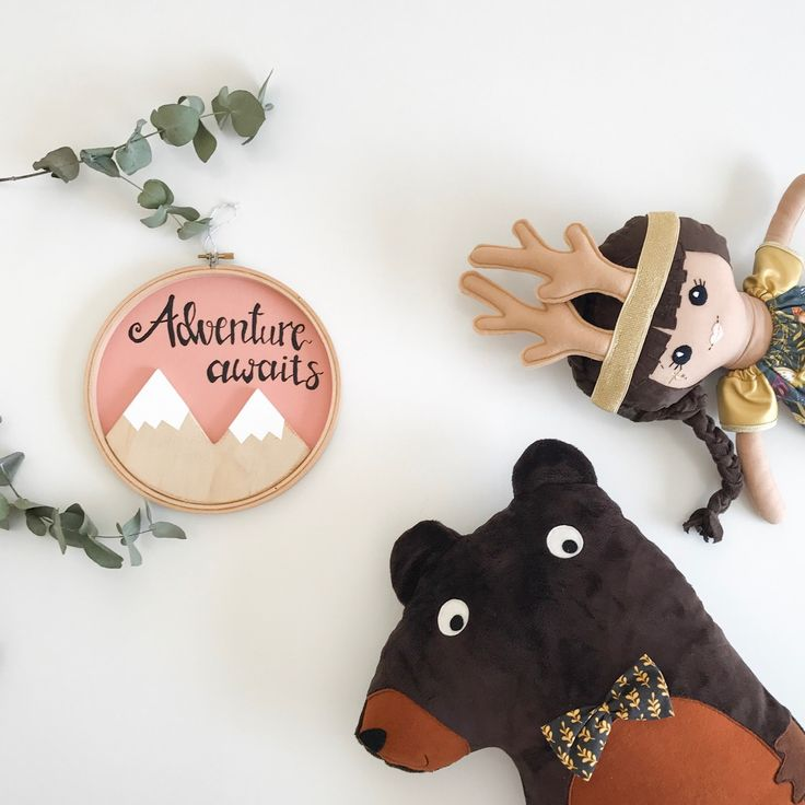 What fun this wooden mountain adventure awaits hoop art was to make. It's available and ready to ship in the shop now. It makes a perfect baby shower gift or new baby gift.