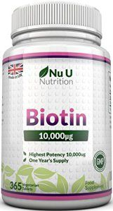 Biotine Croissance de Cheveux Supplément, 365 tablette (Toute L'année Approvisionnement) – 100% satisfait ou remboursé – Nu U Grande Force…