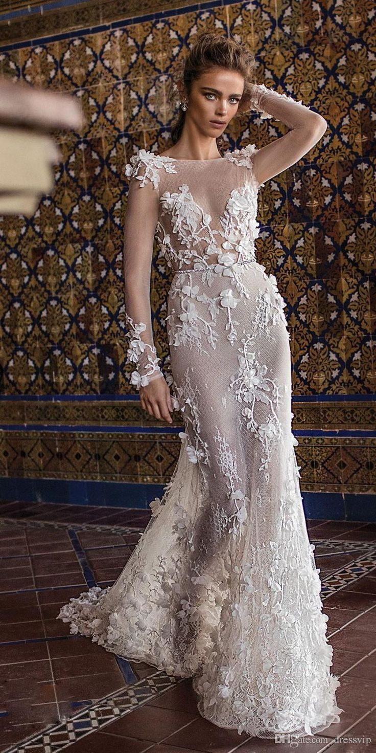 2018 Berta Wedding Dresses With Long Sleeve Tulle 3D Floral Applique Illusion Sexy Beach Wedding Gown Sweep Train Backless Boho Bridal Dress