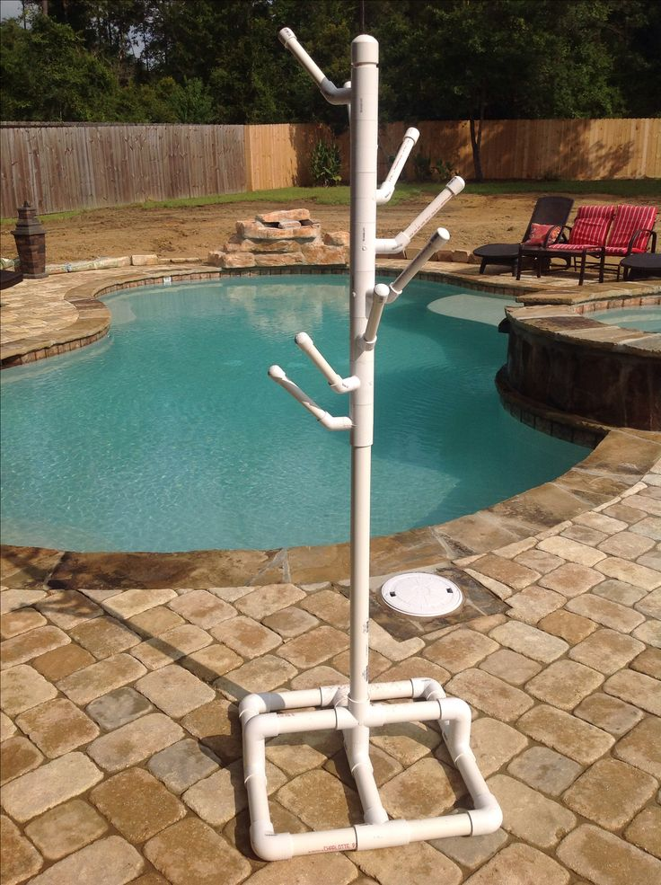 Pvc pool towel rack.  My husband made us this PVC towel rack for the pool and it's just awesome:)
