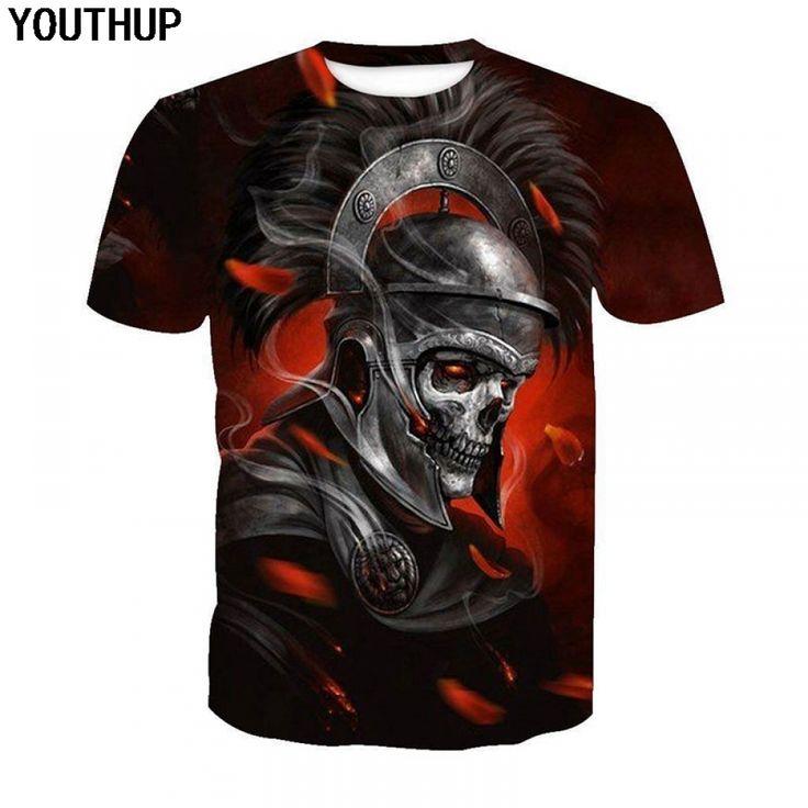 YOUTHUP 2018 Harajuku Style Skull T Shirt 3d Men T shirt Armor 3d Print Men T Shirt Hip Hop Tees Shirt Plus Size 5xl Streetwear