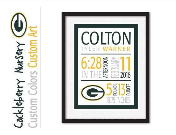 Green Bay Packers, Green Bay Packers Print, Birth Announcement Wall Art, Baby Stats, Custom Birth Subway Art, Personalized Birth Details