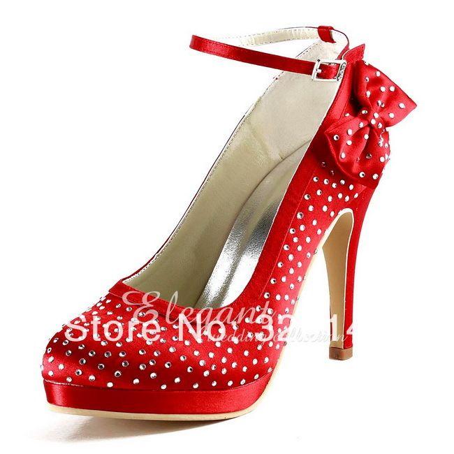 Сексуальные Красные Туфли На Платформе Круглый Toe Rhinestone Лук Атласная 4 Высокий Каблук Свадебные Вечернее Платье женщины Насосы