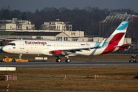 Eurowings Airbus A320-214(WL) D-AVVW aircraft,advertising ''Boomerang Club jetz meilen sammeln- miles & more'', skating at Germany Dusseldorf International Airport. 19/12/2016.
