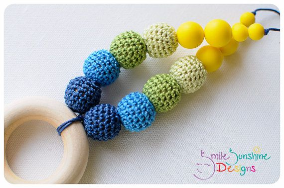 Crocheted and Silicone Teething Necklace and Nursing Necklace - Unique, stylish and sensory overload Smile Sunshine Designs