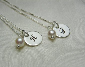 Personalized Bridesmaid Jewelry - Sterling Silver Initial Necklace Bridesmaid Gift - Pearl Birthstone Initial Bridesmaid Necklace