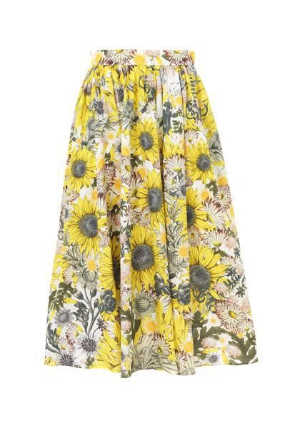 Mantù_Gonna a ruota in popeline di cotone stampa girasole #summer #vitaminic #yellow #sunflower #print #cotton
