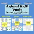 Animal Unit Pack ( animal classification, habitats, life cycles, etc) 9 products in 1 pack (12 dollar value). 58 Pages in ALL!! Save $$$