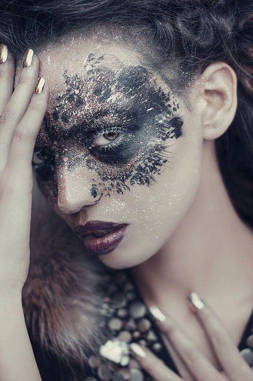 Avant garde lacy makeup metallics