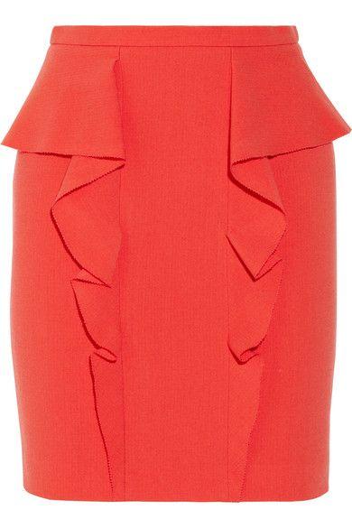 Papaya stretch-wool Ruffled trim Concealed hook and zip fastening at back 98% wool, 2% elastane Dry clean