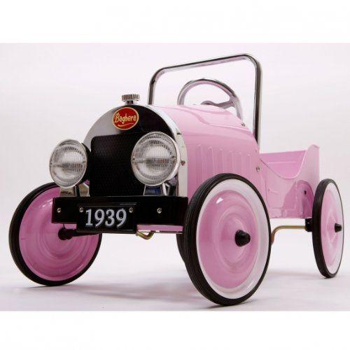 Foto Le Petit Nouveau Coche de pedales, color rosa. Es una colección de coches con pedales inspirado de los años 30 con un diseño retro.