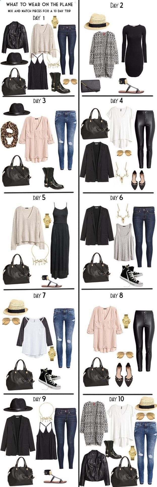 Clothing To Travel - Packing List Day Outfits The choice of our looks can depend on many things, including our tastes, our mood or our plans. Because it is not the same dress for a work meeting as for a party with friends or to make a trip.